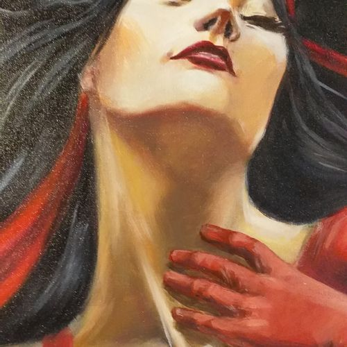 "DELAGACHETTE ""Elektra's Dream""  Huile sur toile de lin  Format 94 x 140 x 3.5 cm…"