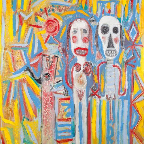 """AZNAR Efisio """"Saint Valentin"""" Huile sur toile 80 x 100 cm signée.    Frais de tr…"""