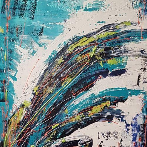 """CB.MILLET """"Evasion"""" Acrylique sur toile 100 x 81 cm signée.    Frais de transpor…"""