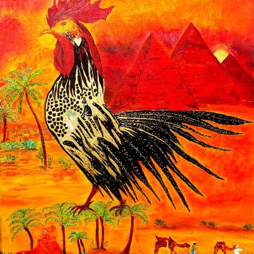 """BUSSET Marie France """"Le coq roi au pied des pyramides""""  Huile sur toile 100 x 81…"""
