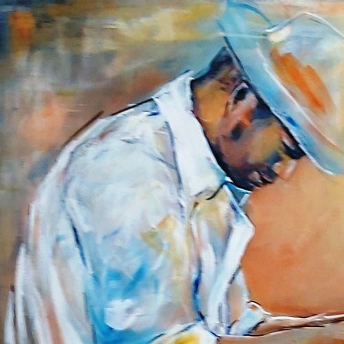 """CARTIER Eliane """"Roberto"""" Acrylique sur toile 100 x 100 cm signée.    Frais de tr…"""
