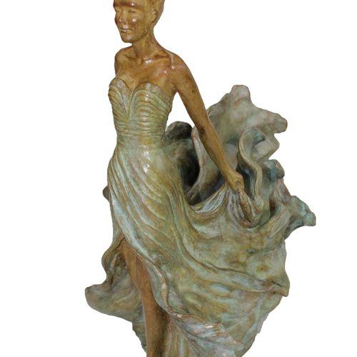 """CANTIN Josiane """"Légèreté"""" Sculpture Bronze H : 45 cm L : 36 cm largeur : 22 cm F…"""