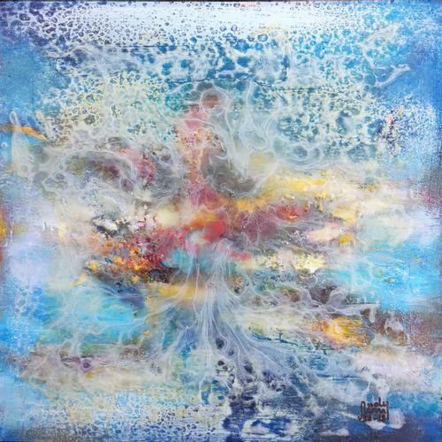 """ANDY Bleu """"Abstrait"""" Peinture recouverte de résine 50 x 50 cm signée.    Frais d…"""