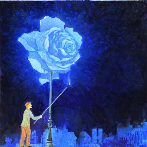 """BLIN Yves """"L'allumeur de réverbère"""" Huile sur toile 30 x 30 cm signée.    Frais …"""
