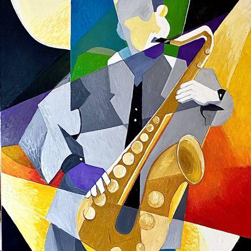 """ARVIN Philippe """"Saxophoniste"""" Huile sur toile 92 x 73 cm signée en bas à droite.…"""