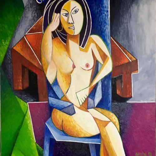 """ARVIN Philippe """"Elle"""" Huile sur toile 92 x 73 cm encadrée 98 x 79 cm signée en b…"""