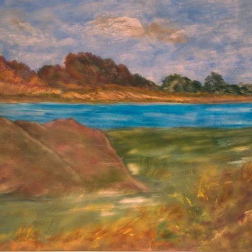DE SCHOUEL Kyna Pays de Loire. Peinture acrylique, support bois et toile. 58 x 4…