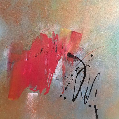 """DE MONT Milanda """"Continuer#3"""" Acrylique et spray aquarelle sur toile 50 x 50 cm …"""