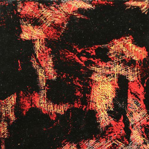 """CORMIER Annick """"Lave 2"""" Acrylique sur toile 20 x 20 cm encadrée 23 x 23 cm signé…"""
