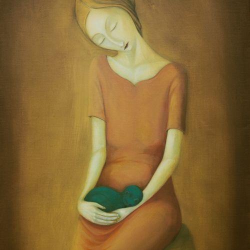 """DISCH Rémy """"Femme au chaton"""" Huile sur toile 60 x 90 cm signée.    Frais de tran…"""
