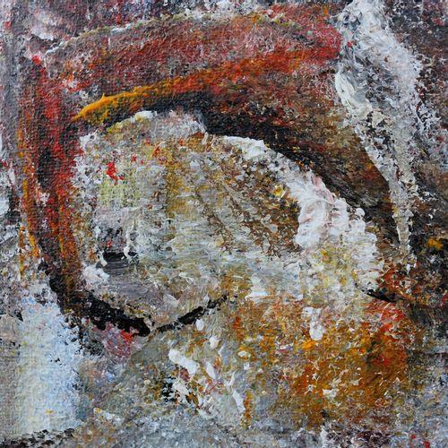 """KARLY ET ANNE V """"Configuration N°2"""" Acrylique sur toile 80 x 80 x 4 cm signée au…"""