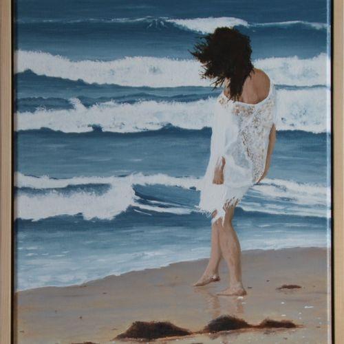 """DAGUAIS """"Flot"""" Acrylique sur toile de lin réalisé au couteau et pinceau 46 x 38 …"""