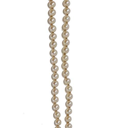 Collier perles de culture en chutes Fermoir en or et turquoise, poids: 21,07 gr…