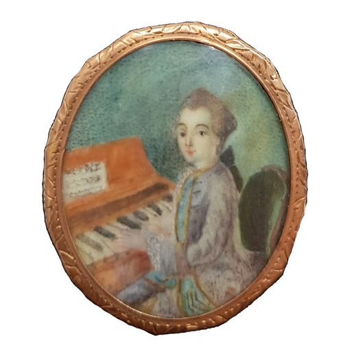 Wolfgang Amadeus Mozart (1756 1791) Miniature sur porcelaine du XVIIIe siècle da…