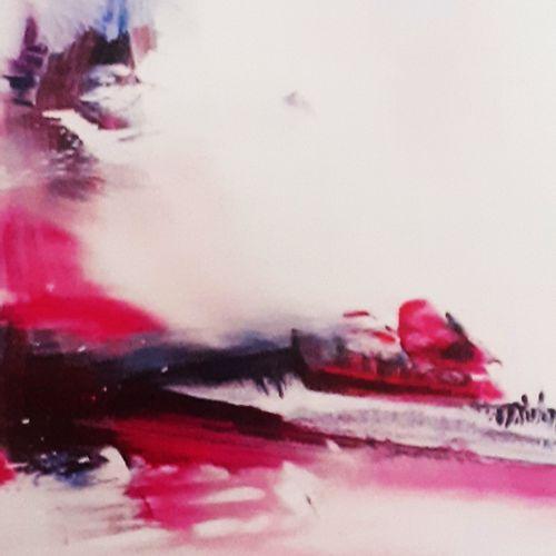"""CHRIS """"Au Cœur du Silence 23"""" Acrylique réalisée à la brosse et au couteau 60 x …"""