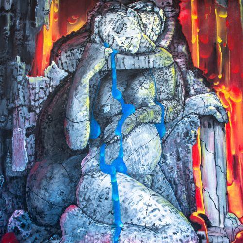 """BOYER """"La grotte de tendresse"""" Acrylique sur toile 92 x 73 cm signée.    Frais d…"""