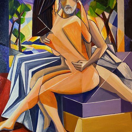 """ARVIN Philippe """"Les Amants"""" Huile sur toile  92 x 73 cm encadrée 98 x79 cm signé…"""