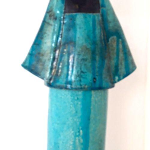 """SUERES Sandrine """"Geisha turquoise et orange"""" céramique émaillée en RAKU avec son…"""