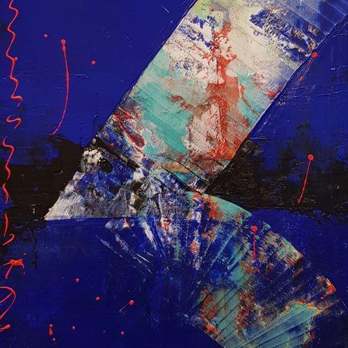 """CB.MILLET """"Abstrait"""" Acrylique sur toile signée.    Frais de transport offerts p…"""