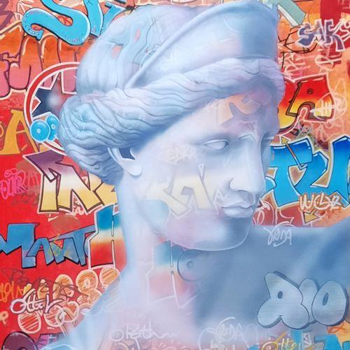 """BROUARD Regis """"Aphrodite"""" Acrylique sur toile 50 x 65 cm signée.    Frais de tra…"""