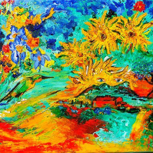 """BUSSET Marie France """"Dans les Yeux de Vincent"""" Huile sur toile 24 x 35 cm signée…"""
