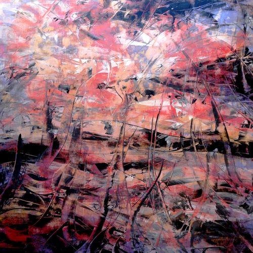 """ALLARD Michel """"Apocalypse"""" Acrylique cires médiums sur papier marouflé sur toile…"""