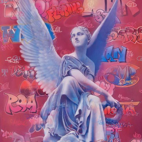 """BROUARD Regis """"Ange assis"""" Acrylique sur toile 60 x 80 cm signée.    Frais de tr…"""