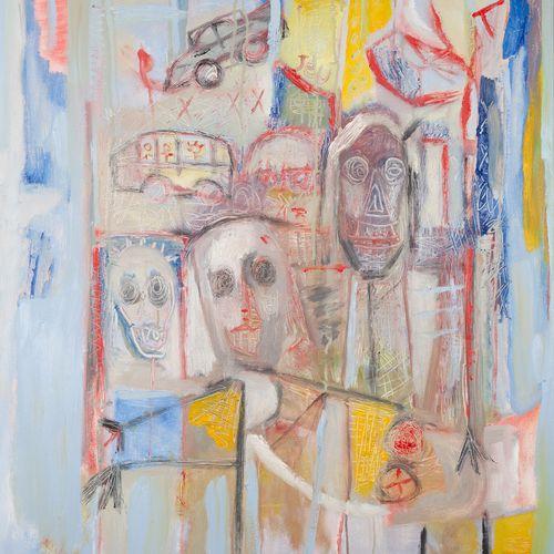 """AZNAR Efisio """"Woodstock"""" Huile sur toile 80 x 100 cm signée.    Frais de transpo…"""