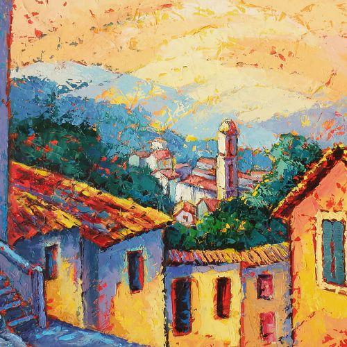 """BERTAUDIERE Nita """"Au dessus des toits"""" Huile sur toile 46 x 38 cm signée.    Fra…"""