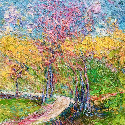 """CHOPARD Sylvain """"Le Chemin Breton"""" Huile sur toile 50,5 x 41 cm encadrée 72 x 62…"""