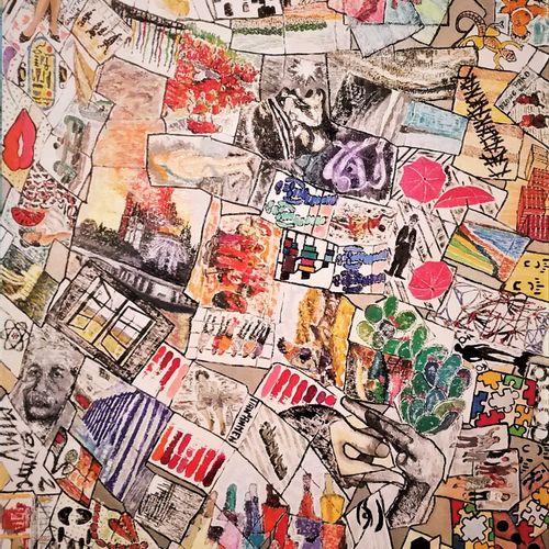 """BAJON ARNAL Christian """"Mille feuilles d'images"""" Huile sur une toile 100 x 120 cm…"""