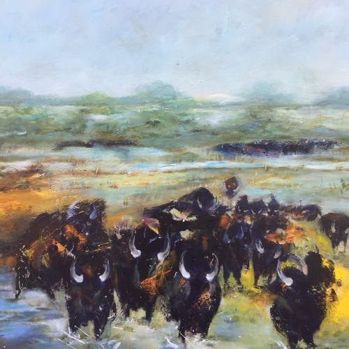 """A.DION """"Taureaux de Camargue""""  Huile sur toile 80 x 100 cm signée.    Frais de t…"""