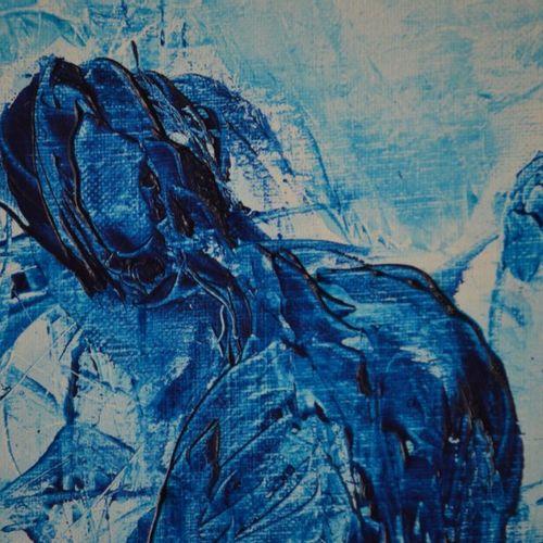 """GESTIN Alain (1955) """"Nativité aux étoiles"""" Technique mixte sur toile de 2011 162…"""