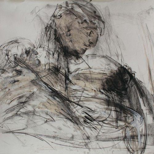 """GESTIN Alain (né en 1955) """"Ensemble"""" Encre et pierre noire sur papier 60 x 80 cm…"""