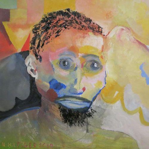 """HILFIGER Nicolas """"Un Messie"""" Huile sur toile 50 x 50 cm signée.    Frais de tran…"""