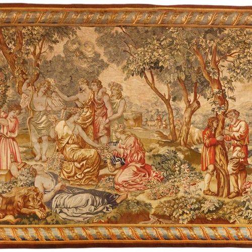 Tapisserie du 18ème siècle en lin et laine figurant le triomphe de Flora. Travai…