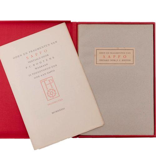 (Boutens) Oden en Fragmenten van Sapfo vertaald door P.C. Boutens. (Maastricht),…