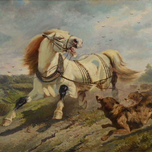 """BACKVIS Frans (1857 1926)  """" Cheval attaqué par des loups""""  Huile sur toile sign…"""