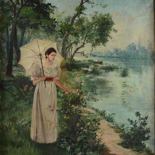 """KARPATHY Jenö (1870 1950)  """" Jeune dame au bord de l'eau""""  Huile sur toile signé…"""