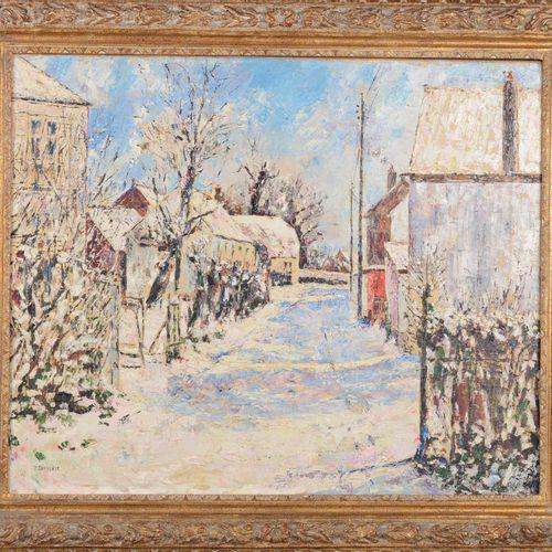 """THEVENET Pierre (1870 1937)  """" Paysage enneigé""""  Huile sur toile signée en bas à…"""