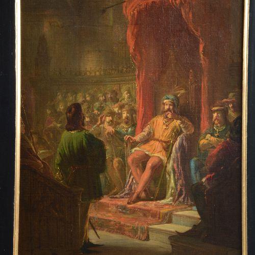 ECOLE HOLLANDAISE, paire d'huiles sur toile figurant des scènes de cour chevaler…