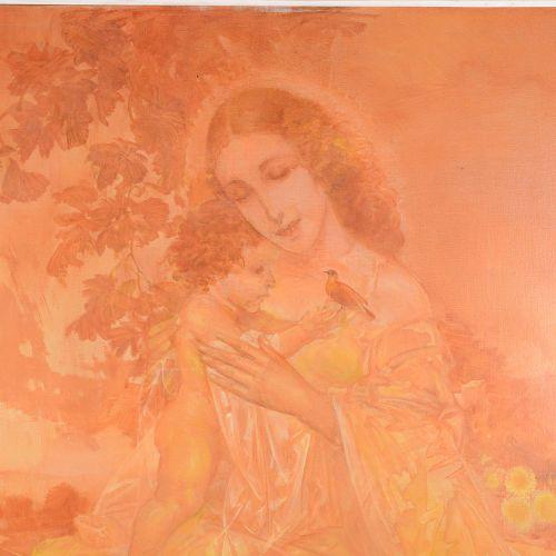 """VAN BELLE, Karel (1884 1959)  """"Maternité""""  Huile sur toile signée en bas à droit…"""