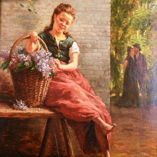 """DEPAUW Robert (1842 1914)  """" La guinguette à l'amour """"  Huile sur panneau, signé…"""