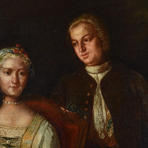 """Ecole étrangère de la fin du XVIII eme siècle.  """" Couple dans un paysage""""  Huile…"""