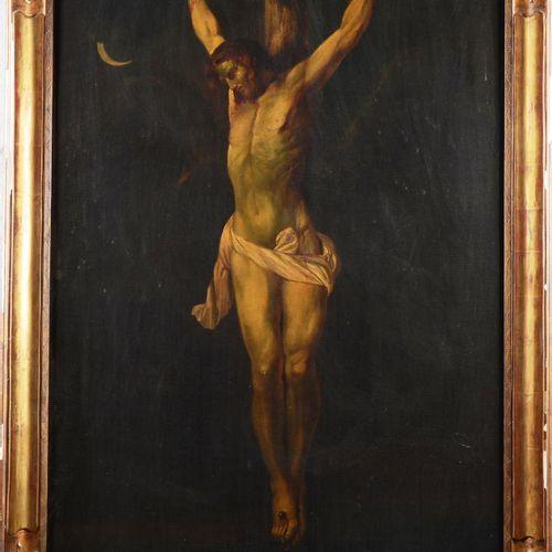 """Ecole belge du XIX eme siècle.  """" Christ en croix""""  Huile sur toile.  Dimensions…"""