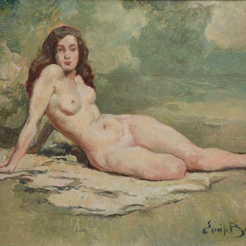 """BAES Emile (1879 1954)  """" Nu couché""""  Huile sur toile signée en bas à droite.  D…"""