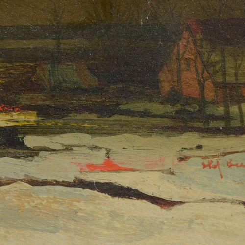 """BEUTEN S. ( ? )  """" Paysage d'hiver""""  Huile sur toile signée en bas droit.  Dimen…"""