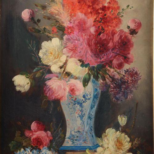 """SCHOUTEN Henry (1857/64 1927  Jos KLAUS  """" Nature morte au bouquet fleuri dans u…"""