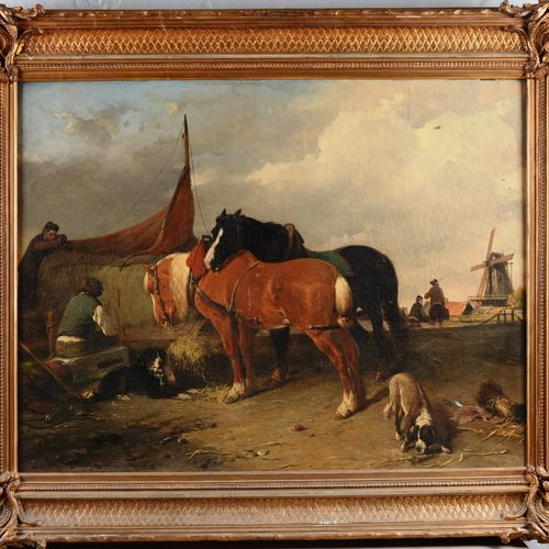 """MOERENHOUT Jozef Jodocus (1801 1875)  """" Chevaux""""  Huile sur toile signée en bas …"""