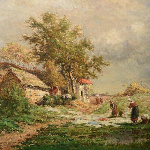 """VERHEYDEN Isidore (Anvers 1846 Ixelles 1905)  """" Scène de la vie rurale, femmes é…"""